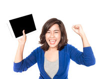 Isolated portrait of beautiful young woman with digital tablet o Stock Photo