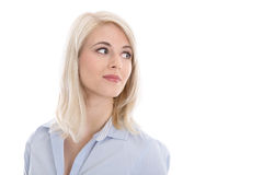 Isolated portrait of blonde pretty trainee with side way view. Royalty Free Stock Photography
