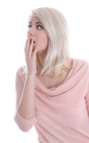 Isolated portrait of blonde shocked pretty woman. Stock Photo