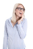 Isolated portrait of blonde surprised pretty student. Stock Image
