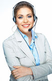 Isolated portrait of business woman, customer service worker. C Stock Image