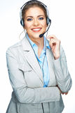 Isolated portrait of business woman, customer service worker. C royalty free stock photo