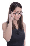 Isolated portrait of businesswoman in a black dress with glasses Royalty Free Stock Images
