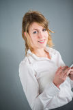Isolated portrait of A cheerful young business woman. Isolated portrait of cheerful young business woman Stock Photo