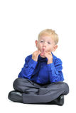 Isolated portrait of cute boy making funny face Stock Image