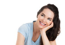 Isolated portrait of happy woman Royalty Free Stock Image