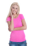 Isolated portrait of happy young blond female student over withe. Stock Photography
