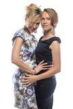 Isolated portrait of joking sisters. Isolated photo on white background Stock Image