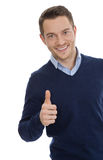 Isolated portrait of man with thumb up. Stock Images