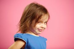 Free Isolated Portrait Of Little Girl With A Cunning Look. Royalty Free Stock Photos - 117205218