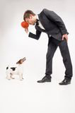 Isolated portrait of owner with his dog Royalty Free Stock Images