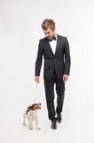 Isolated portrait of owner with his dog Royalty Free Stock Photography