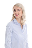 Isolated portrait of pretty smiling woman on white. Young blonde pretty trainee with blue blouse and sideway view isolated on white stock images