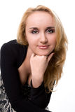 Isolated portrait shot of a blonde. Isolated on white royalty free stock photography