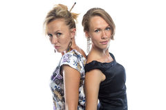 Isolated portrait of sisters on white Royalty Free Stock Photo
