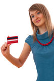 Isolated portrait of woman with credit card Royalty Free Stock Photography
