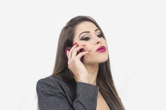 Isolated portrait of young woman phone call Royalty Free Stock Image