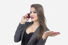 Isolated portrait of young woman phone call Royalty Free Stock Photography