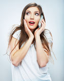 Isolated portrait of young woman phone call. Isolated beautiful Stock Photo