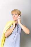 Isolated portrait of young woman phone call. Isolated beautiful girl. Talking mobile phone woman. royalty free stock images
