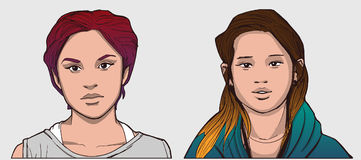 Isolated portraits of hispanic and south east asian girls in color stock illustration