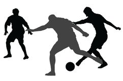 Isolated poses of soccer players in duel vector silhouettes. Isolated poses of soccer players in duel vector silhouettes on white background. Football player Royalty Free Stock Images