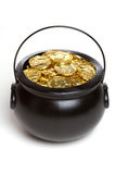 Isolated Pot of Gold. Isolated black pot of gold Stock Photo