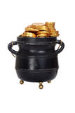 Isolated pot of gold. On white background Royalty Free Stock Photo