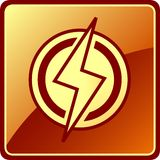 Isolated power icon. Yellow isolated power icon. electrician modern symbol royalty free illustration