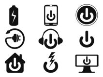Power icons set stock photography