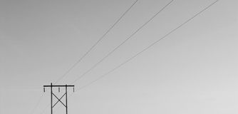 Isolated Powerline B/W. A powerline viewed in rich black and white Royalty Free Stock Photo