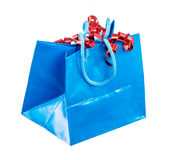 Isolated Present Bag with Curled Ribbon Stock Photo