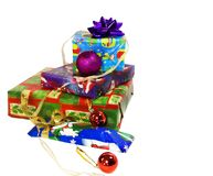 Isolated presents. A stack of presents isolated over white Stock Photo