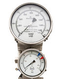 Isolated pressure gauge and level gauge in cryogenic liquid gas supply Royalty Free Stock Photos