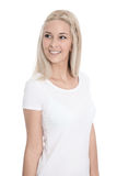 Isolated pretty young blond woman with white shirt Royalty Free Stock Images