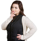 Woman with Fingers on Chin Stock Photos