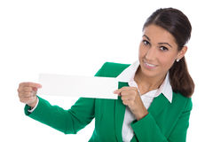 Isolated professional businesswoman in green holding white sign Stock Images