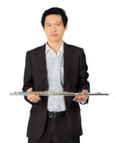 Professional flute player on white Stock Photography