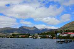 The isolated Puerto Eden in Wellington Islands, fiords of southern Chile Royalty Free Stock Photos