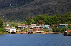 The isolated Puerto Eden in Wellington Islands, fiords of southern Chile Stock Image
