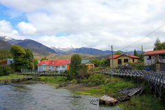The isolated Puerto Eden in Wellington Islands, fiords of southern Chile Royalty Free Stock Photo