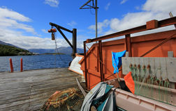 The isolated Puerto Eden in Wellington Islands, fiords of southern Chile Stock Images