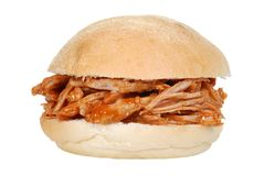 Isolated pulled pork sandwich Stock Images