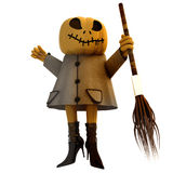 Isolated pumpkin witch with broom illustration Stock Photography