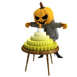 Isolated pumpkin witch with cake and candle Stock Photos