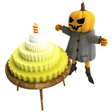 Isolated pumpkin witch with cake on table Royalty Free Stock Images