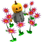 Isolated pumpkin witch in magic flower garden Royalty Free Stock Image