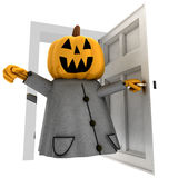 Isolated pumpkin witch opening front of door Stock Photo