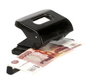 Isolated puncher with money Royalty Free Stock Photography