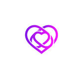 Isolated purple abstract monoline heart logo. Love logotypes. St. Valentines day icon. Wedding symbol. Amour sign Royalty Free Stock Photo